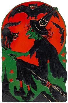 Witch Flying over Skyline    1930s Vintage Halloween Cardboard diecut