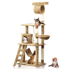 Yaheetech 62' Cat Tree Tower Condo Scratcher Furniture Kitten Pet House with Hammock >>> Tried it! Love it! Click the image. : Cat Tree