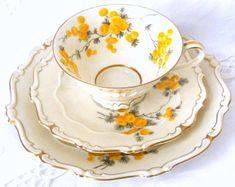 yellow floral tea set tea cup trio floral tea cup vintage yellow teacup trio german porcelain Sorau Carstens 109