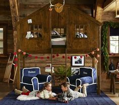 Treehouse Loft Bed | Pottery Barn Kids... just don't put the mattress in and you have a great indoor treehouse !!