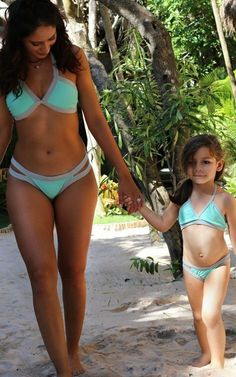 Seafoam Green Toddler Swimsuit Set - Girls Bikini Bottom and Halter Top with Color Blocking - Lined Girls Bikini Bottoms, Bikini Tops, Usa Bikini, Sexy Bikini, Forever Young Swimwear, Mom Daughter Matching Outfits, Toddler Swimsuits, Hollywood Fashion, Beachwear