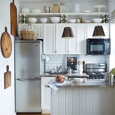 Prodigious Ideas: Kitchen Remodel Must Haves Awesome tiny kitchen remodel counter tops.Small Kitchen Remodel Backsplash tiny kitchen remodel on a budget. Kitchen Shelves, Diy Kitchen, Kitchen Decor, Kitchen Storage, Kitchen Organization, Organization Ideas, Awesome Kitchen, Wall Shelves, Kitchen White