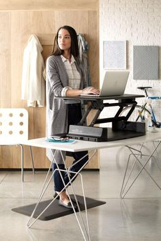 WORK ELEVATED with an adjustable height desk from VARIDESK Sit Stand Desk, Adjustable Height Desk, Desk Accessories, Summer 2015, Furniture, Home Decor, Desktop Accessories, Adjustable Height Table, Decoration Home