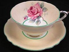 PARAGON PINK ROSE GREEN TRIM PEACH TEA CUP AND SAUCER | eBay