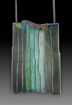 "Pendant | Carly Wright - ""Waterfall"". Sterling silver and enamel"