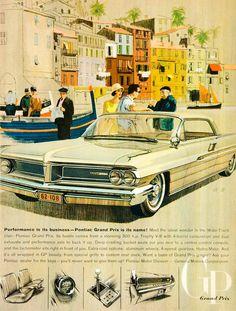1962 Ad Vintage Pontiac Grand Prix Automobile Car Wide Track General Motors YMM5 - Period Paper