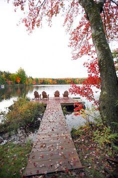 Beautiful fall setting at the lake house rustic cabin.