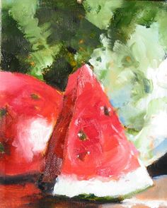 """Watermelon Original Oil Painting """"Big Slice"""" 8 x 10 on Canvas by CorinneGallaFineArt on Etsy https://www.etsy.com/listing/181627964/watermelon-original-oil-painting-big"""
