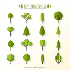 Flat trees pack Free Vector