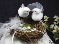 Wedding Ring Pillow with Twig Nest, Love Birds and Pearl Eggs