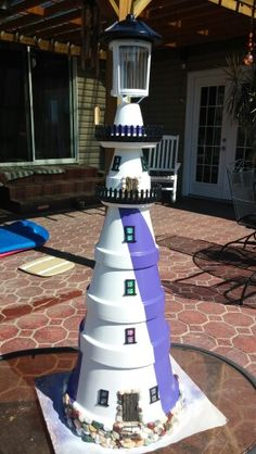 Clay Pot Lighthouse I made for my daughter!