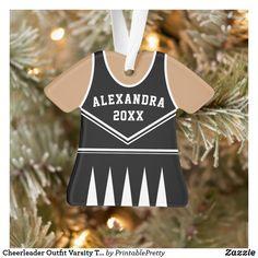 Shop Cheerleader Outfit Varsity Team Uniform Black Ornament created by PrintablePretty. Cheerleading Team Gifts, Cheerleading Accessories, Cheer Games, School Cheerleading, Football Cheer, Cheerleading Uniforms, Cheer Coaches, Cheer Stunts, Team Uniforms