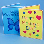 Craft project: Instructions and patterns for making Mother's Day cards with heart or butterfly pop-up inside.