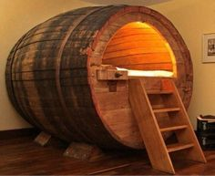 How cool is this barrel bed!?