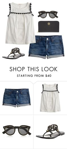 """""""jean shorts"""" by kcunningham1 ❤ liked on Polyvore featuring J.Crew, Illesteva and Tory Burch"""