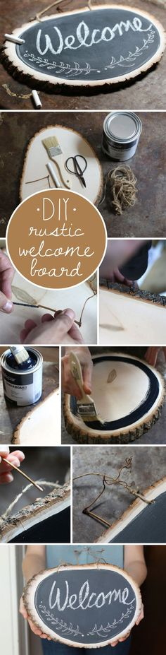 What an adorable, rustic chalkboard sign you can DIY for the any room in the home. Funtional in the kitchen or decorative on your door, it's a wonderful craft so easy you'll make many as gifts! www.ehow.com/...