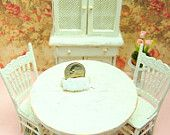 Dollhouse Table Chairs Cabinet Set Shabby Chic Kitchen  Distressed White Wood
