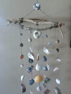 seashell and driftwood mobile