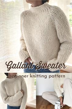 Beginner Knitting Patterns, Sweater Knitting Patterns, Knitting For Beginners, Knitting Yarn, Free Knitting, Easy Knitting Projects, Top Down, Knit Vest Pattern, Lana