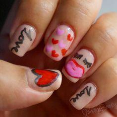 Valentine's Themed Nail Art: Lips & Love #nails #hearts #valentines #love