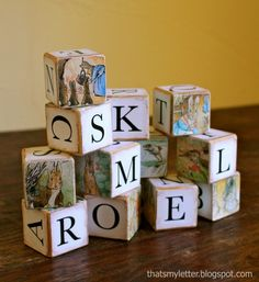Want to make some alphabet blocks? Modpodge Beatrix Potter pictures and letters for a dear Peter Rabbit theme.  Of course you could use any style font and any pix you want.  I think they're precious!