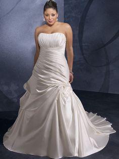 A-Line Scoop NEckline Soft Stain Plus Size with Ruffles Wedding Dress