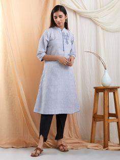 42c2613dbd0e3 Blue Embroidered Khadi Cotton Striped Kurta with Black Dhoti Pants- Set of 2