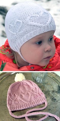Free Knitting Pattern for From the Heart Bonnet or Beanie in Baby, Child, and Adult Sizes - Hat featuring cable hearts and cable heart flowers. Sizes baby different gauges), child sizes, adult size. - Crochet and Knit Cable Knitting Patterns, Baby Hat Knitting Pattern, Knitting Blogs, Baby Hats Knitting, Knitting For Kids, Free Knitting, Knitted Hats, Crochet Patterns, Baby Sweaters