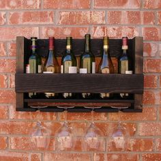Rustic 6 Bottle Wine Rack with 4 Glass Holder by KeoDecor on Etsy