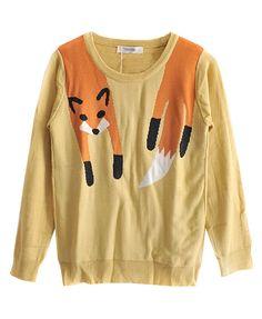Fox Pattern Round Neckline Pullover