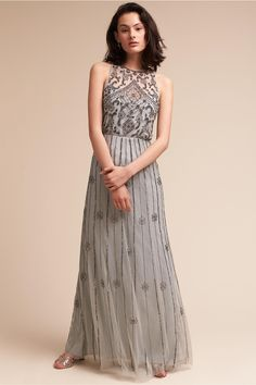 We're sharing an EXCLUSIVE code for 20% discount and free shipping for all #BHLDN #bridesmaid dresses! They never mark down their #bridesmaiddresses so you'll definitely want to take advantage!   Gray beaded Amada Bridesmaid Dress from @BHLDN