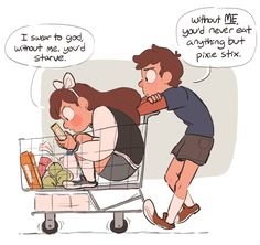 This is exactly how me and my siblings shop, except it's my sister, Lizzie is in the cart, my older sister, Margot is pushing it and my twin brother, Michael and I are fighting over what kind of cereal to get