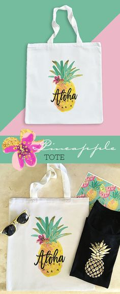 Pineapple Tote Bags Aloha Pineapple Bachelorette Party by ModParty