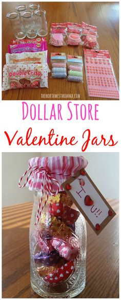 Dollar Store Valentine Jars (Suggestion:  Use gold elastic on spool to tie on cupcake wrapper - saves having to use rubber band.)