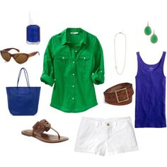 Summer Outfit - just change accessory colors Green Shirt Outfits, Short Outfits, Casual Outfits, Summer Outfits, Summer Wear, Spring Summer Fashion, Pretty Outfits, Cute Outfits, Summer Wardrobe