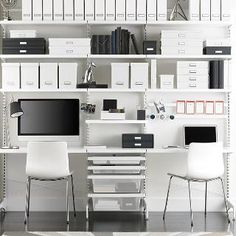 White elfa décor freestanding Home Office | The Container Store
