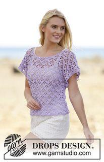 """Crochet DROPS top with fan pattern, worked top down in """"Safran"""". Size S- XXXL ~ DROPS Design"""