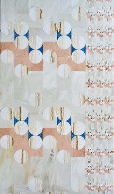 Large, wall inlaid rolls of marble