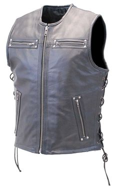 Milled Cowhide Scoop Collar /& Hidden Zipper Motorcycle Vest DS189A Concealed Snap Closure
