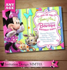 Minnie Mouse Bowtique Invitation Minnie por ThePrintableOccasion