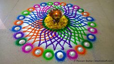 Diwali special rangoli design - Multicolored flower rangoli