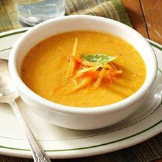 Roasted Carrot Soup: Carrots, garlic, ginger, onion, chicken broth, olive oil, almond milk, pepper