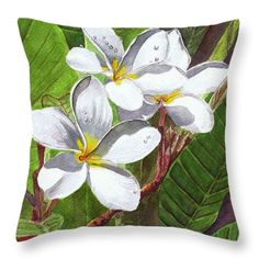 Throw Pillow featuring the painting Reach For The Sun White Frangipani by Michele Ross