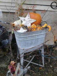 Fall washtub decor