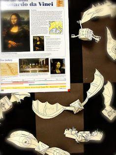 Da Vinci's Wings: Grade Flying Machines Inspired by Da Vinci--- geometric forms, line design, science/math connection Art History Lessons, Art Lessons For Kids, Artists For Kids, Art Lessons Elementary, Da Vinci Inventions, Middle School Art, High School, Summer School, School Days