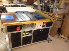 The Basement Moddin' the Table Saw. Shop Organisation, Garage Organization, Downdraft Table, Kaizen Foam, Table Saw Station, Best Circular Saw, Table Saw Stand, Jet Woodworking Tools, Wood Plane