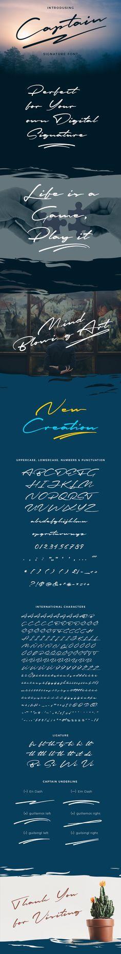 Captain Signature Brush Font — TrueType TTF #signatures #logo • Download ➝ https://graphicriver.net/item/captain-signature-brush-font/19938988?ref=pxcr