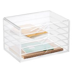 5-Drawer Premium Acrylic Accessory Box...can easily hold slender makeup items...examples blush compacts and Lippies & other items