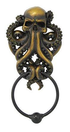bathroom decoration items Decorative Octopus Skull Monster Resin Door Knocker with Cast Iron Knocker Wall Sculpture - Door Knobs And Knockers, Door Knockers Unique, Unique Doors, Gothic Home Decor, Gothic House, Interior Barn Doors, Barn Door Hardware, Wall Sculptures, Resin Sculpture