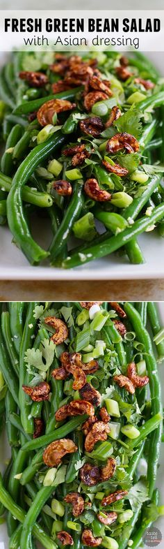 An Asian take on green beans, this Fresh Green Bean Salad with Asian Dressing is full of Asian flavors and great texture from the Soy-Glazed Cashews.: